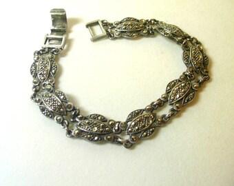 Vintage Marcasite and Sterling Silver Link Bracelet