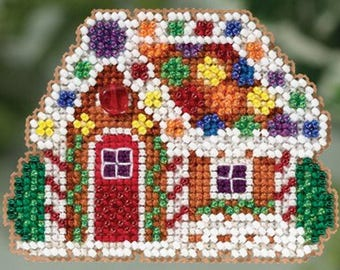 Mill Hill Winter Holiday Collection, Gingerbread Cottage MH18-5305 Christmas Ornament Counted Cross Stitch Kit