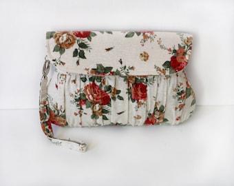 Beige Floral Clutch, shabby chic garden wedding clutch, bridesmaid gift, bridesmaid clutch