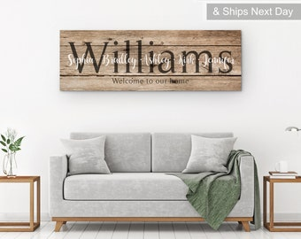 Last Name Print, Large Name Sign, Last Name Sign, Personalized Wooden Family Sign With Kids Names