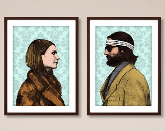 Margot and Richie portrait prints, Wes Anderson inspired print, Wes Anderson print, The Royal Tenenbaums, film print, Wes Anderson poster
