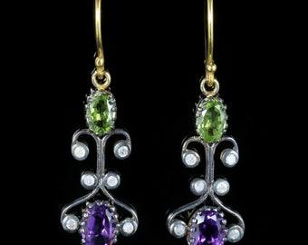 Suffragette Earrings Long Peridot Amethyst Diamond