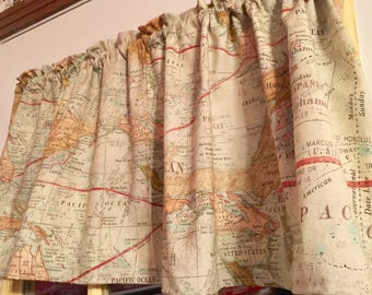 World map curtains etsy old world map handmade cotton fabric window curtain valance gumiabroncs Image collections