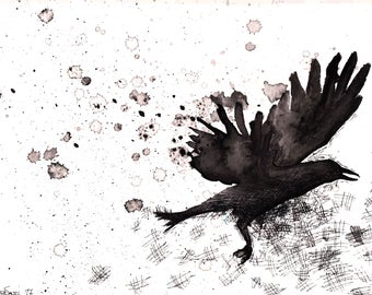 """Crow / bird / raven / pen / ink wash / acrylic / flying / hand made / black and white / wall art / print / """"Escape"""""""