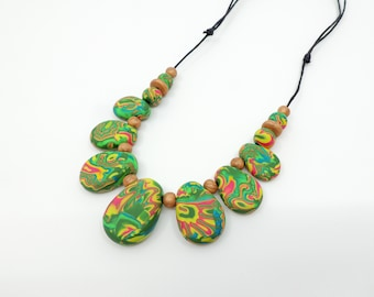 MOKUME - polymer clay drop necklace