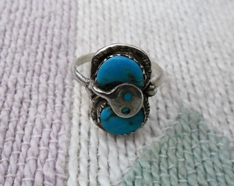 Native American Vintage Sterling Silver And Turquoise Ring Size