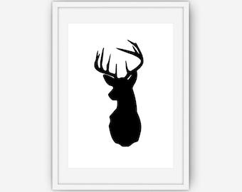 Black and White Deer Head Print, Deer Antlers Wall Art, Black and White Wall Art, Deer Print, Wall Art, Printable, Instant Download