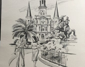 Vintage Pen and Ink drawings, Prominent areas of New Orleans