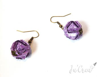 Modular origami earrings purple geometric ball