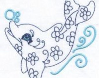 Little Dolphins - INSTANT DOWNLOAD - 4x4 hoop - Machine Embroidery