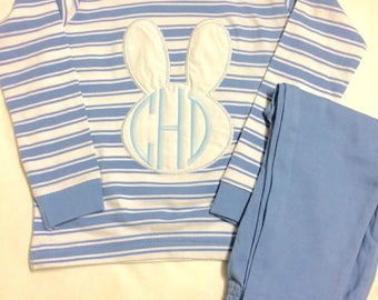 Blue Bunny Applique Pajamas