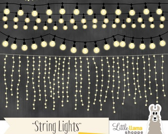 String Lights Clipart, Fairy Lights Clip Art, Wedding Invitation String Lights, White Lights, Commercial Use, Rope Lighting