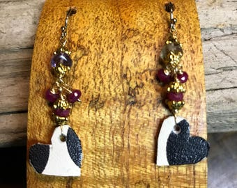 Tiny Leather Dalmation Spot Heart Earrings with Rubies and Amethyst with Gold Vermeil