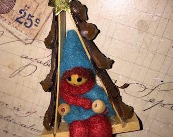 Vintage Spun Wool Christmas Ornament