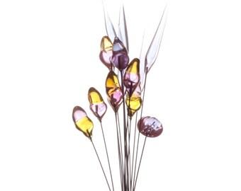 Vintage Czech art glass flower bouquet stem hand lampwork saphiret glass beads