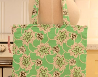 Book Bag Tote Purse - Green Floral