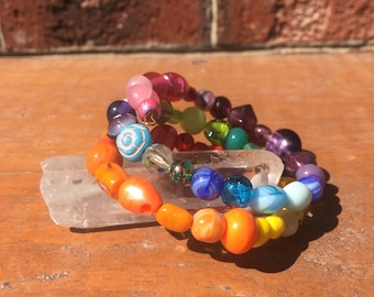 Rainbow Glass Bead Memory Wire Bracelet