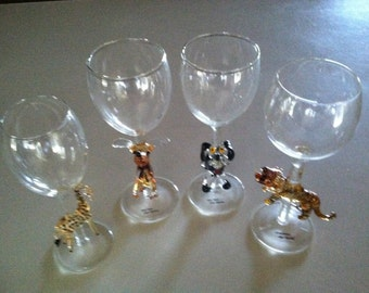Handmade Animal Stem Wine Glasses