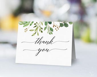 Printable Wedding Thank You Card, Rustic Greenery Wedding Thank You Card Template, 4.25x5.5 inches, Meadow