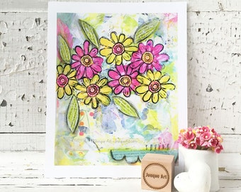 Spring Flowers Mixed Media Art Print - 2 sizes available
