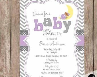 Teddy bear baby shower invite, Purple and Gray moon baby shower invitation, chevron, baby girl invitation, teddy bear and moon invitation