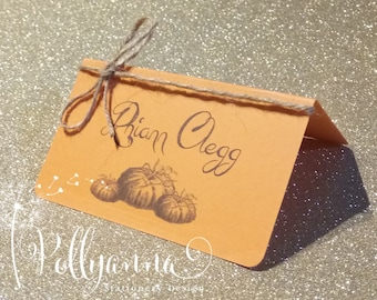 Pumpkin Place Cards Personalised Any colours Halloween Fall Autumn Thanksgiving Wedding x10