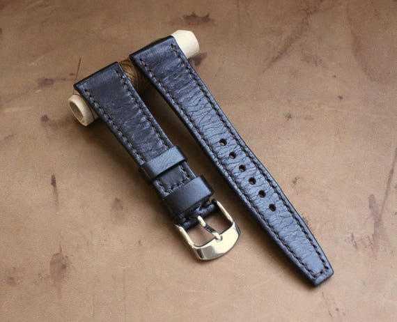 VTG style Custom Black Horween Chromexcel watch band with full stitching