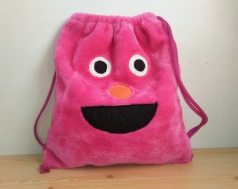 Monster backpack,girls backpack,plush backpack,kawaii backpack,shool bag,pink backpack,children backpack,draw string bag,string backpack