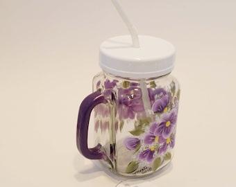 Hand Painted Purple Violet Mason Pint Jar Glass