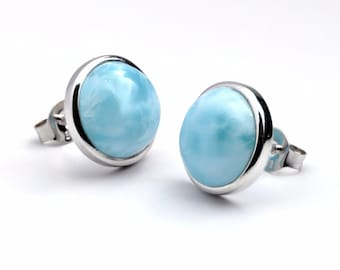 Natural Larimar 10mm Bezel Set Stud Earrings .925 Sterling Silver