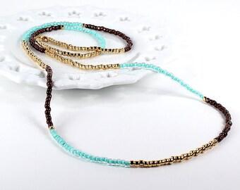 Long Beaded Necklace Mint Gold Bronze Color Block Wrap Bracelet
