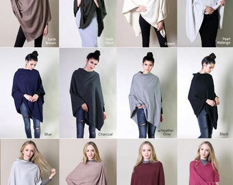100% Organic Cotton 5-Way Knit Poncho Sweater Pullover Cardigan Topper, Super Soft, Lightweight, Breathable, All-Season (12 COLORS)