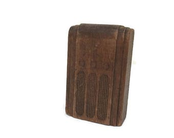 Strombecker Miniature Radio  -  Dollhouse Furniture - Solid Wood - Vintage