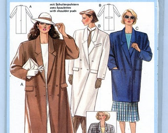 Vintage Burda 6466 Women's Coat Double Breasted Jacket Overcoat UNCUT Sewing Pattern Size Large 44 to 48 Calf Above Knee or Below Hip Length