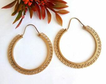 Big Hoop Earrings, Brass Earrings, Tribal Earrings, Hoop Earrings, Boho Earrings. Indian Earrings. Ethnic Earrings. Earrings. Brass.