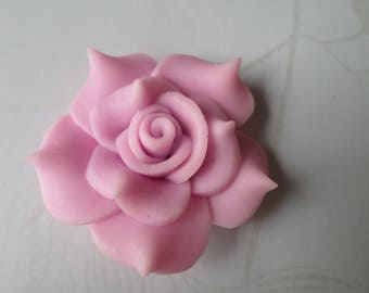 x 1 large 40 mm polymer clay pink/purple flower bead