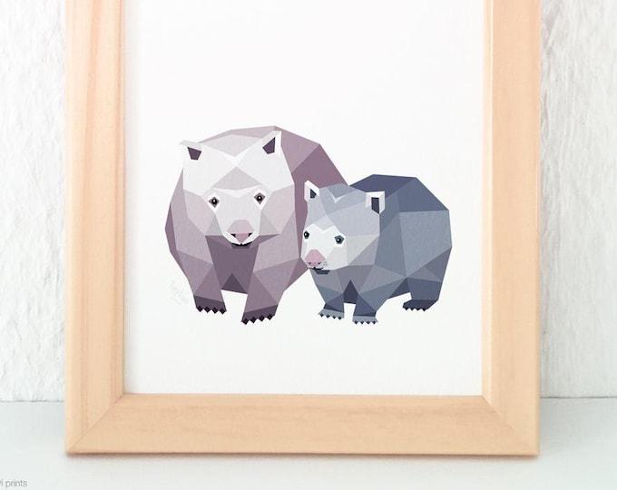 Wombat print, Wombat art, A2 Wildlife art, Australian wildlife, Australian animal, Children nursery art, Mother and baby, Baby animal art