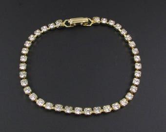 Rhinestone Tennis Bracelet, Rhinestone Bracelet, Faux Diamond Bracelet, Gold Bracelet, Delicate Bracelet