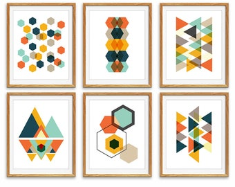 Geometric Prints, Printable Art, Scandinavian Art, Wall Art Prints, Digital Print, Set of 6 Prints, Minimalist Art, Geometric Art