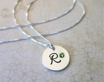 Initial Necklace with Birthstone - Sterling Silver Initial Jewelry - Swarovski Crystal Birthstone - Embedded Crystal - Birth Month Jewelry