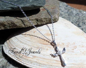 Sterling Silver Winged Cross Clear CZ Pendant and chain available 16 18 20