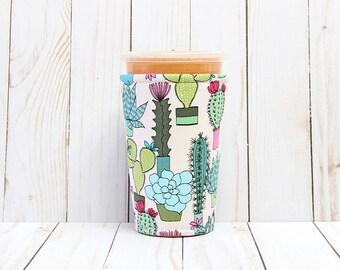 Iced Coffee Cozy, Coffee Cozy, Cactus Cup Cozy, Cup Sleeve, Succulents  Coffee