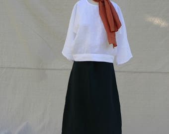 Navy By the Sea Linen Skirt