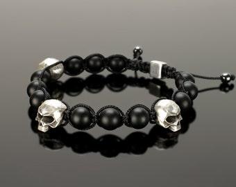 Shamballa bracelet - Mens shamballa bracelet with skulls. 10 mm black onyx beads and big 15 mm skull!