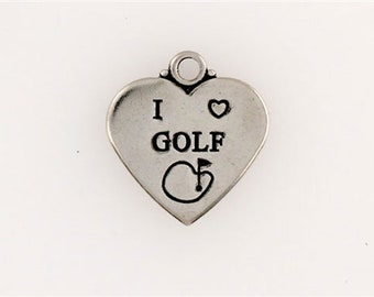 Sterling Silver I Love Golf Heart Charm