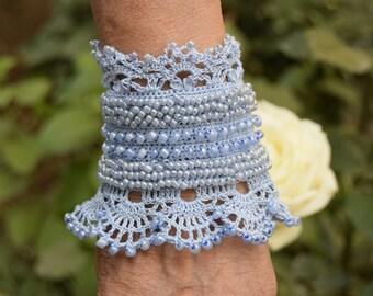 Blue Crochet Bracelet Cuff, Beaded Cuff Bracelet, Bracelet Cuff, Crochet Jewelry,  Crochet cuff, Seed Beads Cuff