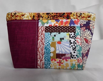 Crazy Scrappy Log Cabin - Quilted Small Zipper Pouch