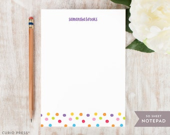 Personalized Notepad - DOTS - Stationery / Stationary Notepad - vibrant colorful kids playful dotted girls note pad