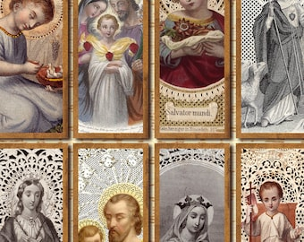 Lace Holy Card 1.5x4 bookmark digital collage sheet Catholic Saint Jesus Sacred Hearts Instant Download printable n115