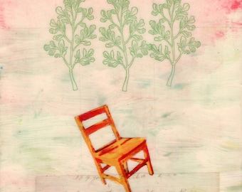 original small painting with collage, unique home decor - Presence (Tilting Chair) - wantknot shop